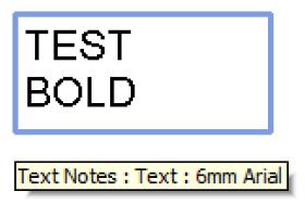 Upper case text note width using factor 1.3