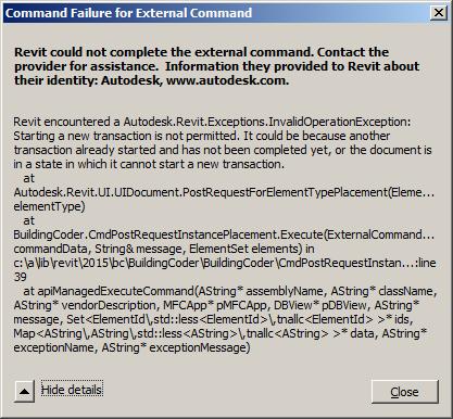 PostRequestForElementTypePlacement requires a transaction