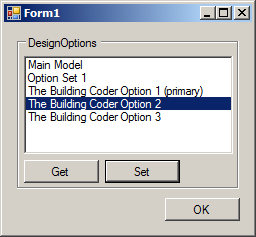 DesignOptionModifier retrieving design options