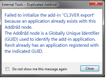 CL3VER exporter duplicate add-in GUID error