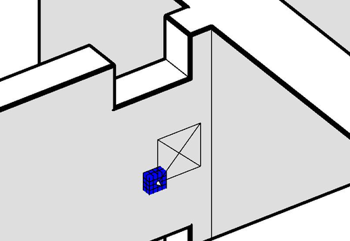 A cube intersecting a wall