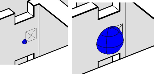 A sphere intersecting a wall