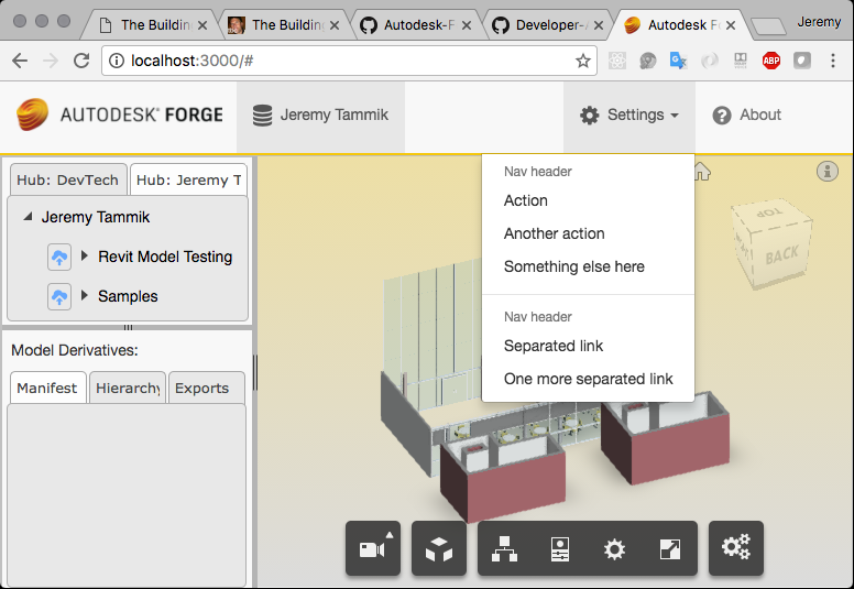Forge boilerplate settings menu