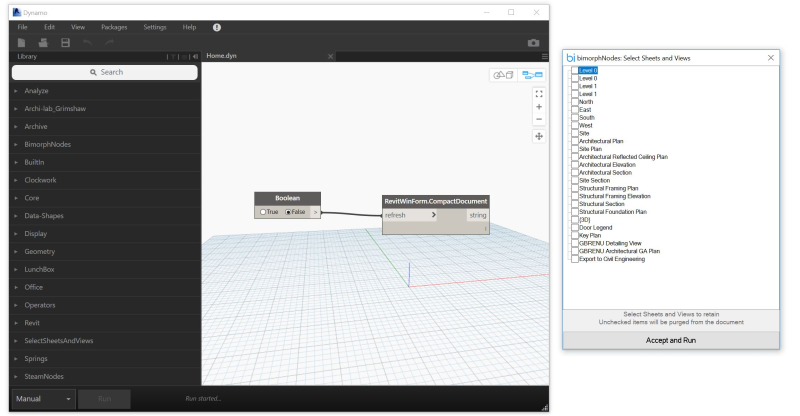 Dynamo displaying Bimorph Windows form