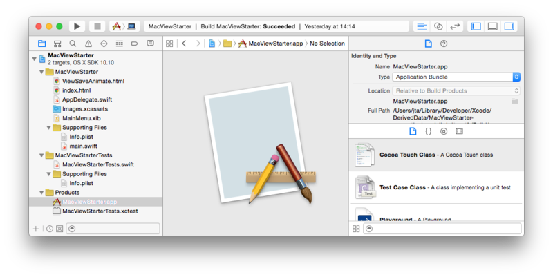 Xcode IDE with MacViewStarter app