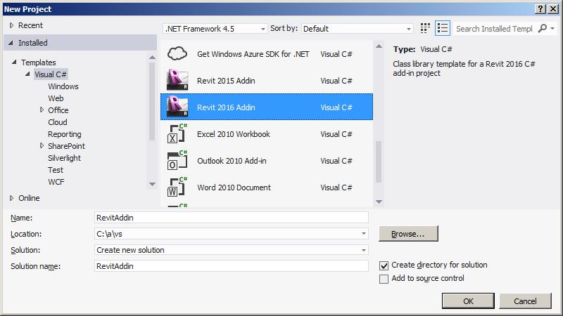 Visual Studio Revit add-in wizard for Revit 2016