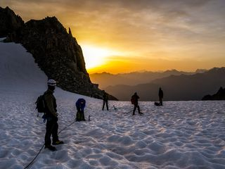 Sunrise on the glacier above Cabane d'Orny