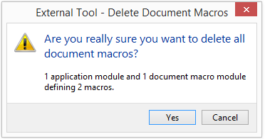 Delete document macros confirmation