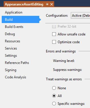 AppearanceAssetEditing build properties