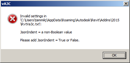 RvtVa3c invalid Boolean value error message
