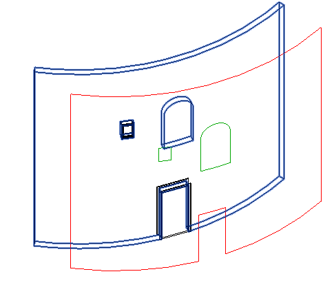 Wall elevation profile with arced window on cylindrical wall