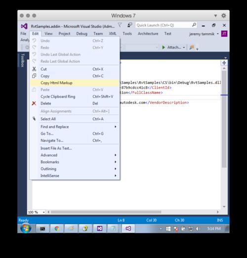 Copy Html Markup menu entry
