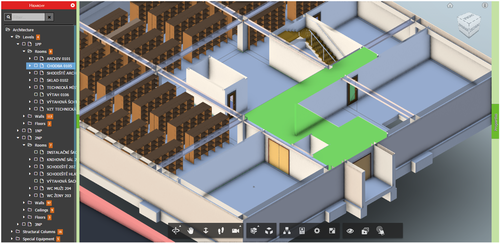 Viewer highlight room — a complicated room shape
