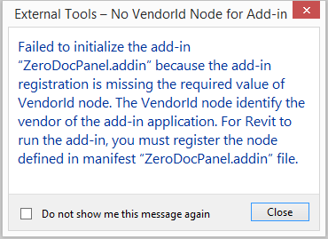 VendorId node missing in add-in manifest