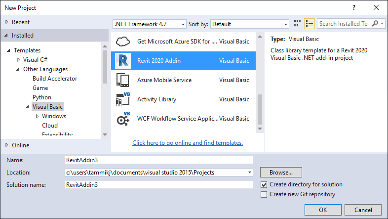 Visual Studio Add-in Wizard for Revit 2020