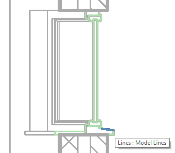 Model lines representing cut geometry in section view