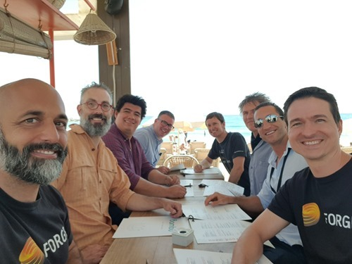 Forge team lunch on the beach