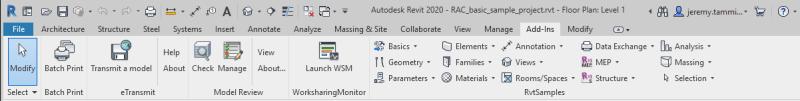 RvtSamples loaded all Revit 2020 external commands