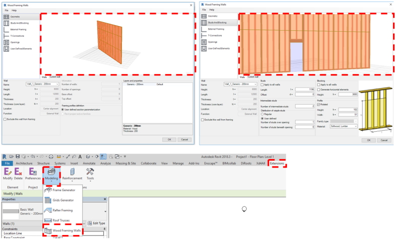 Wood framing walls extension geometry viewer