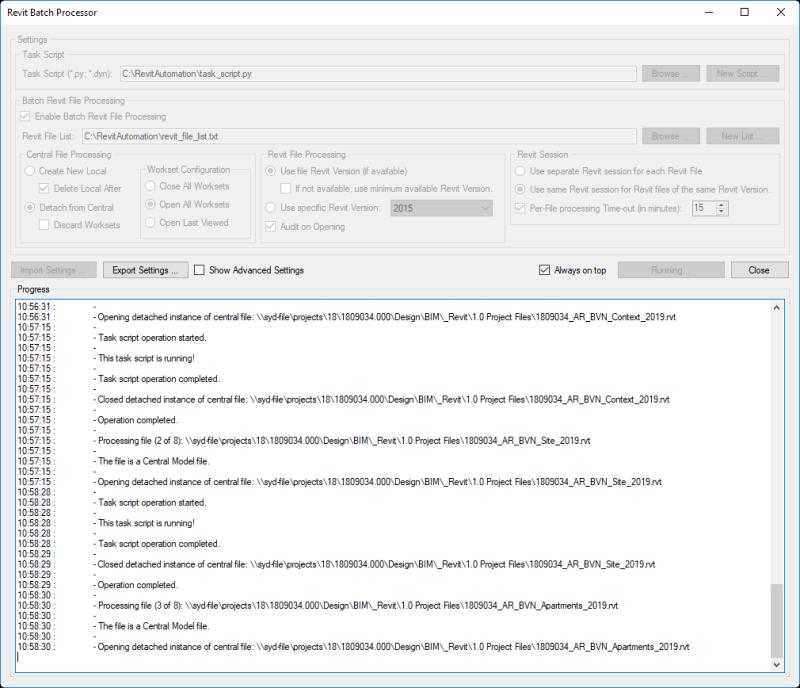 Revit batch processor user interface