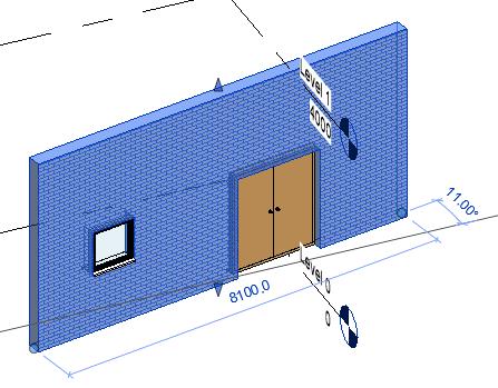 Sample model with door in wall
