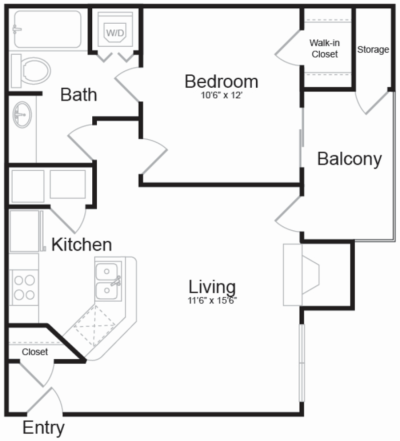 Apartment layout showing birdseye view of accessories