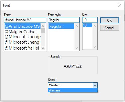 List of FontDialog fonts
