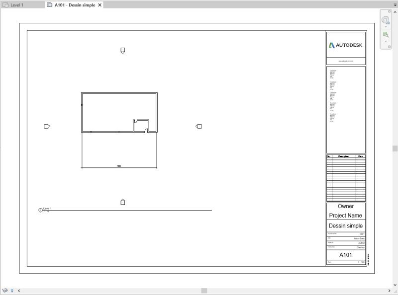 Sheet view title block geometry and text