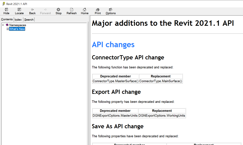 Revit 2021.1 API help file section on What's New