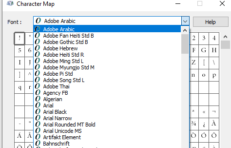 List of system fonts