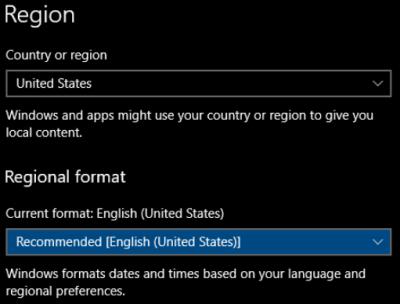 Windows regional number format